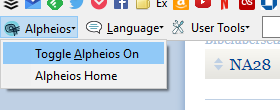 alpheios toggle on